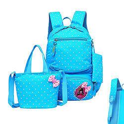 Moonwind Polka Dot School Backpack Set for Kids Book Bags Handbag Pouch Student