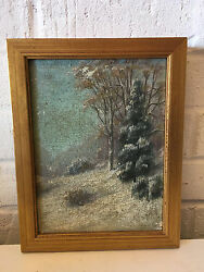 Antique Charles A Watson Oil On Canvas Board Painting Depicting Snowy Landscape