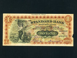 Rhodesiap-s148,1 Pound,1939 Standard Bank Of South Africa Rare
