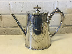 Antique Possibly Robert Hennell Silver Plated Teapot W/ Shield Decoration