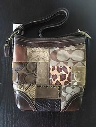 New COACH Holiday Patchwork Crossbody Bucket Shoulder Bag Purse F0773-11497 NWT