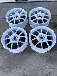 Racing Hart Evo Cp10 18 X 7.5 Et 42 4100 White Set Of 4 Wheels Jdm Included Cap