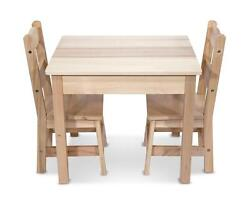 Kids Table 2 Chairs Set Wooden Playroom Furniture Kids Toddler Play Eat New