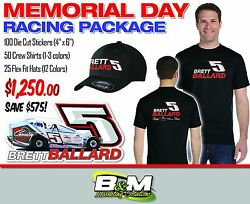 Memorial Day Racing Package - Shirts Hats And Die Cut Stickers