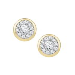 13 ct. tw. Diamond April Birthstone Button Earrings in 10k Yellow Gold