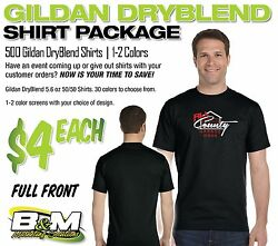 Gildan Dryblend Package - 500 Shirts, 1-2 Color Screens, Full Front Only