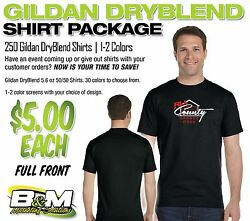 Gildan Dryblend Package - 250 Shirts, 1-2 Color Screens, Full Front Only