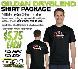 Gildan Dryblend Package - 250 Shirts, 1-2 Color Screens, Full Front And Full Back
