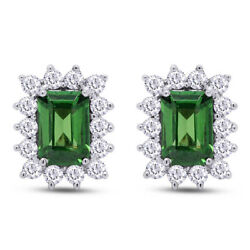 1.80 Ct Emerald Cut Emerald And Natural Diamond Stud Earrings 10k White Gold