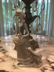 Signed Lladro I-15 A Women And Duck Caring A Baby Duck Hand Made In Spain Figurine