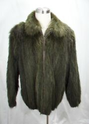 Free Shipg 100 Real Fur U S Opossum Dyed Loden Green Men Bomber Jkt Big And Tall