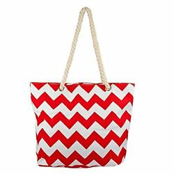 Fashion Zip Up Cute Beach Canvas Tote Bag Waterproof Lined Interior Red White