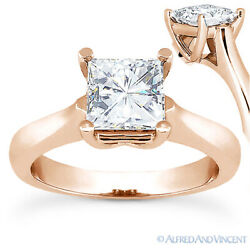 Square Cut Forever One D-e-f Moissanite 14k Rose Gold Solitaire Engagement Ring