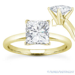 Square Forever One D-e-f Moissanite Solitaire Engagement Ring In 14k Yellow Gold