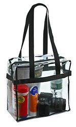 Clear Tote Bag Zippered Top NFL Stadium Approved Work School Sports Shoulder Bag $11.77