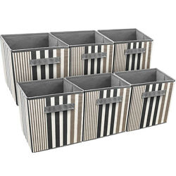 Sorbus Foldable Storage Cube Basket Bin 6 Pack Vertical Stripe Line Pattern