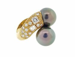 1.74 Ct Black Pearl And Diamond Bypass Ring In 18k Yellow Gold--hm1816sr