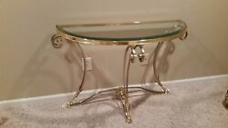 Glass Tables-coffee Table- Wall Or Sofa Table-mint Condition-silver And Gold -