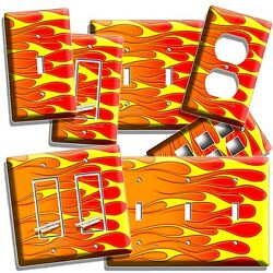 HOT ROD RED YELLOW ORANGE FLAMES LIGHT SWITCH OUTLET WALL PLATE COVER GARAGE ART