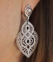 2.27 ct Diamond Lace Heart Cut-out Earrings by Crivelli 18k White Gold -HM1824AR