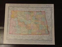 Nice Antique Colored Map Of North Or South Dakota, 1895-atlas Of The World