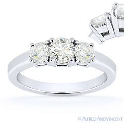 Forever One D-e-f Round Cut Moissanite 3-stone Engagement Ring In 14k White Gold