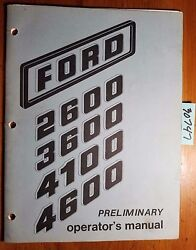 Ford 2600 3600 4100 4600 Tractor Owner's Operator's Manual Se 3501 Preliminary