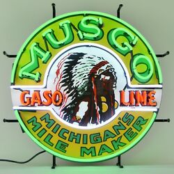Musgo Gasoline Neon Sign - Gas And Motor Oil - Michigan's Mile Maker - Indian