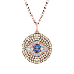 5/9 Ct Round Sapphire And Simulated Solid 14k Rose Gold Evil Eye Pendant Necklace