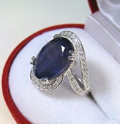 9.08 Ctw Blue And White Sapphire Ring Size 6 - White Gold Over 925 Sterling Silver