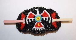 New Native American Beaded Barrette Red/black 1 5/8 X 1/4 Tight Beading