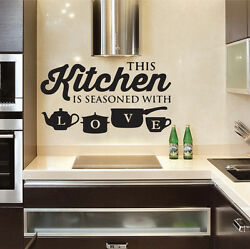 Kitchen Pot Cup Love Wall Stickers Art Dining Room Removable Decals DIY
