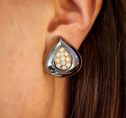 Hematite And Diamond Button Earrings In 18k Yellow Gold - Hm1819s5