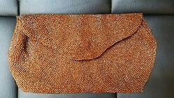 Bronze Glass Seed Bead Purse Clutch by Walborg Belgium Satin Lining Mid Century