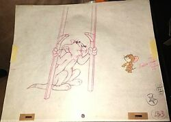 Vintage Hanna Barbera Tom And Jerry Original Production Cel And Drawing