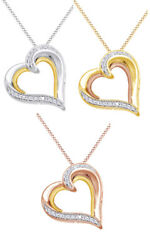 14Ct Round Real Diamond 14K Gold Over Heart Pendant Chain 18