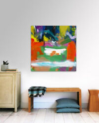 Large Abstract Painting, Modern Art For Homeandoffice And Happy Spaces Milk Pool