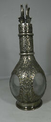 Chinese Export Sterling Silver Overlay Glass Liqour Decanter 4 Spouts