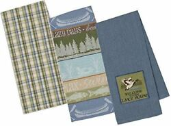 Design Imports Lake House Welcome Kitchen Towels Plaid Stripe Duck Fish Canoe