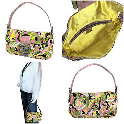$2995 NEW RARE FENDI HAND SEWN BAGUETTE ~LIZARD AND EMBROIDERED BAG