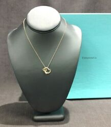 And Co. Elsa Peretti Open Heart 18kt Necklace 2 Hearts Yellow Pink Gold