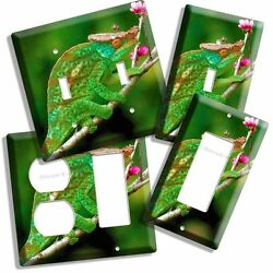 NEW GREEN CHAMELEON ON PINK FLOWER TREE LIGHT SWITCH COVER WALL PLATE GFI COMBO