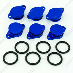 6x 32mm BLUE ALUMINIUM SWIRL FLAP REPLACEMENT + O-RING FOR BMW 5 SERIES NEW