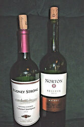 2 Empty 2010 Wine Bottles Rodney Strong And Norton 750ml Corks Green Glass Crafts