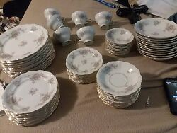 White And Pink Flower China Set. 58 Pieces. Mint Condition
