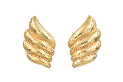 Vintage 18k Yellow Gold Large Earclips Earrings With Omega Backs Shell Design