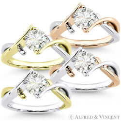 Forever Brilliant Round Cut Moissanite 2-tone 14k Gold Solitaire Engagement Ring