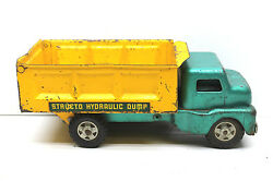 Vintage 1950's Structo Toys Hydraulic Dump Truck Pressed Steel Construction Usa