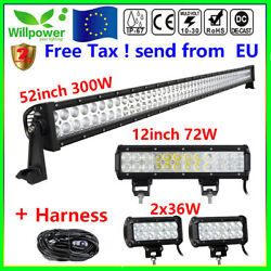 52inch Led Light Bar Combo + 12inch +7 Cree Pods For Off Road Suv Atv Ford Jeep