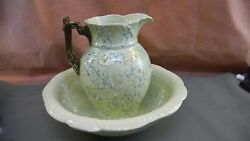 Antique Spongeware Pitcher And Basin Exquisite Pattern Pastel Green And Blue